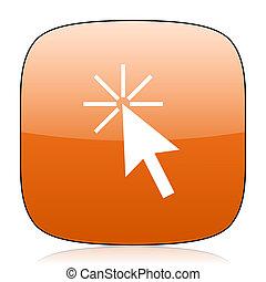 click here orange square web design glossy icon