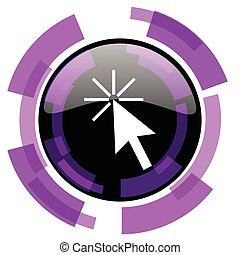 Click here pink violet modern design vector web and smartphone icon. Round button in eps 10 isolated on white background.