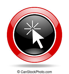 click here red and black web glossy round icon