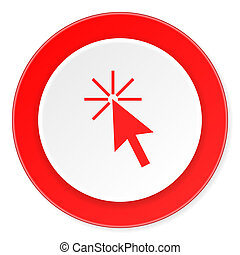 click here red circle 3d modern design flat icon on white background