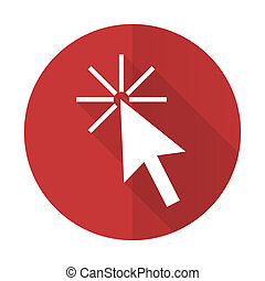 click here red flat icon