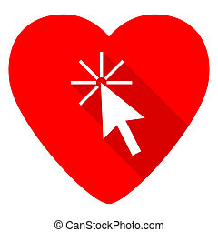 click here red heart valentine flat icon
