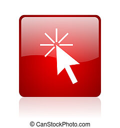 click here red square glossy web icon on white background