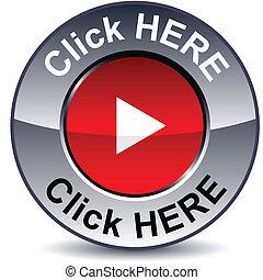 Click here round metallic button. Vector.