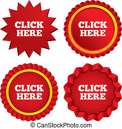 Click here sign icon. Press button. Red stars stickers. Certificate emblem labels. Vector