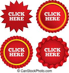 Click here sign icon. Press button. Red stars stickers. ...