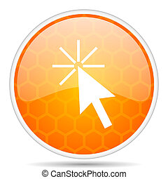 Click here web icon. Round orange glossy internet button for webdesign.