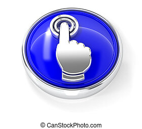 Click icon on glossy blue round button