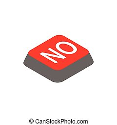 Click no button icon, isometric 3d style