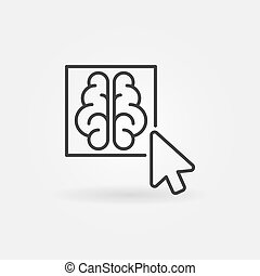 Click on brain button outline icon - vector concept line...