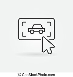 Click on button with a car vector simple outline icon
