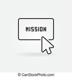 Click on mission button vector concept line icon