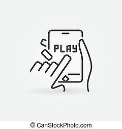 Click on Play button on Smartphone vector outline icon