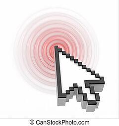 click., ratón de la computadora, cursor.