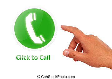 Click to call concept. Hand call button isolated over white.