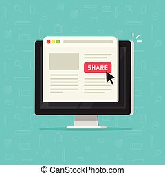 Click to share button on computer, sharing website page on...