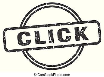 click vintage stamp. click sign