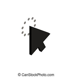 Click with cursor icon, isometric 3d style