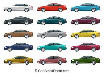 click., wszystko, elementy, szablon, handlowy kolorują, odizolowany, jeden, wektor, grupy, pojazd, sedan, biały, bok, zmiana, prospekt