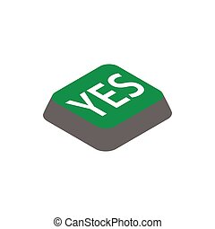 Click yes button icon, isometric 3d style