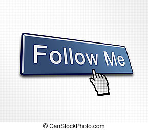 Clicked Follow Me Button Illustration for Social Media