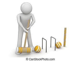 clicket, -, sporten, verzameling