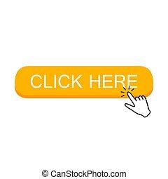 clicking., ボタン, ここに, 手, カーソル, ポインター, クリック