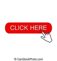 clicking., ボタン, ここに, 手, ポインター, クリック