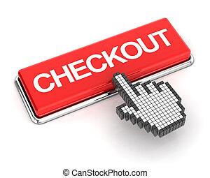 Hand cursor clicking a checkout button, 3d render