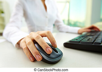 Clicking - Image of female hands pushing keys of a computer...