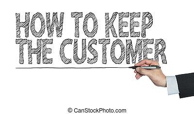 client, écrit, garder, main