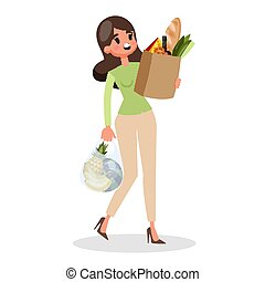 client, épicerie, achats femme, sac, shopping., store.