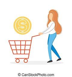 client, épicerie, femme, mode, shopping., ou, magasin