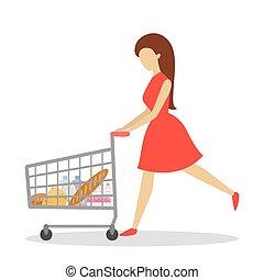 client, épicerie, femme, mode, shopping., store., ou