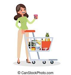 client, épicerie, shopping., mode, store., ou, homme
