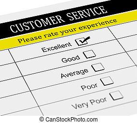 client, évaluation, service, formulaire, 3d