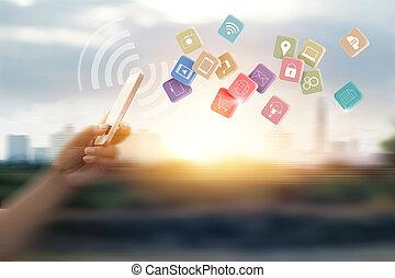 client, achats, réseau, mobile, ligne, mouvement, connexion, paiements, fond, barbouillage, utilisation, homme, vitesse, icône