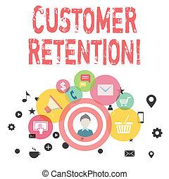 client, activités, clients, éléments, retention., campagne, icônes, texte, commercialisation, numérique, sociétés, actions, signe, conceptuel, ou, prendre, photo, ecommerce., retenir, projection