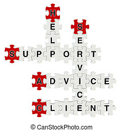 Client Advice 3d puzzle on white background