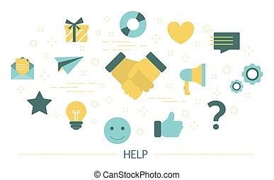 client, aide, service, soutien, idée, concept.