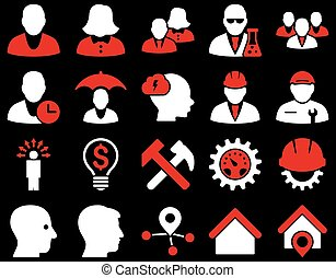 Client and business icon set. These flat bicolor icons use...