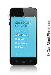 client, application, enquête, service