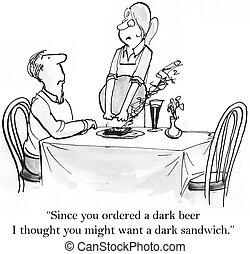 client, apporte, brûlé, sandwich, waittress