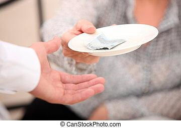 client, argent, remettre, serveur