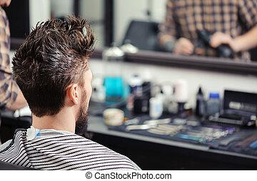 Client at barber shop