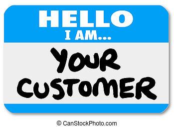 client, autocollant, nametag, ton, bonjour