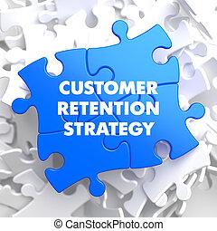 client, bleu, rétention, puzzle., stratégie