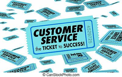 client, bon service, reussite, attention, illustration, billet, clients, 3d