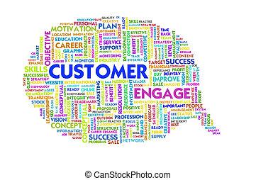 client, bulle mot, service, intérieur, business, parole