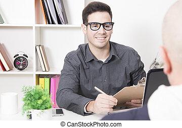 client, bureau, business, assister, conseiller, professionnel, réunion, ou